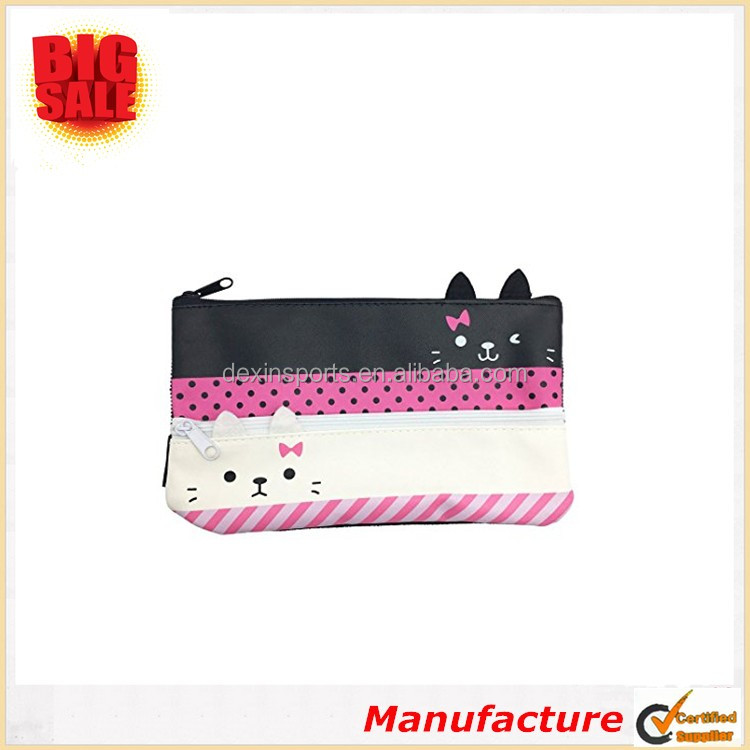 High Quality Promotiaonal Gifts Pen Pencil Case Double Cat Zipper Cosmetic Bag