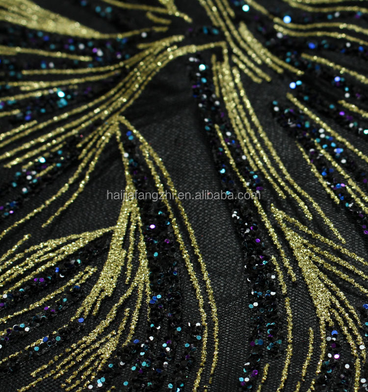 Wholesale printed glitter sequins Hexagonal mesh fabric for clothing decorations