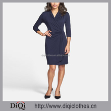 New Factory Price Custom Three-Quarter Sleeve Dress Women Faux Wrap Knit Dress