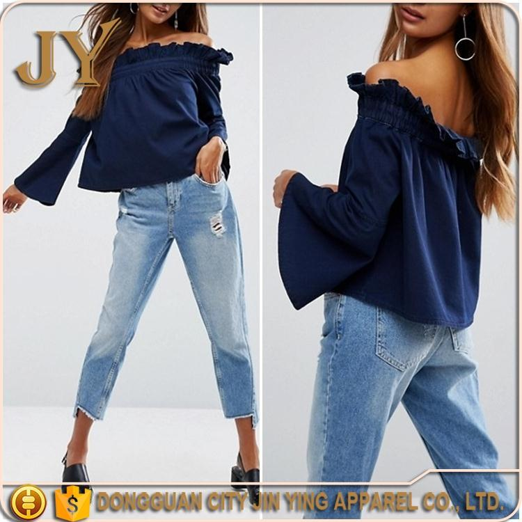 New Design Off-shoulder Blouse Denim Tops Blue Flare Sleeves Blouse Plus Size Clothing for Women