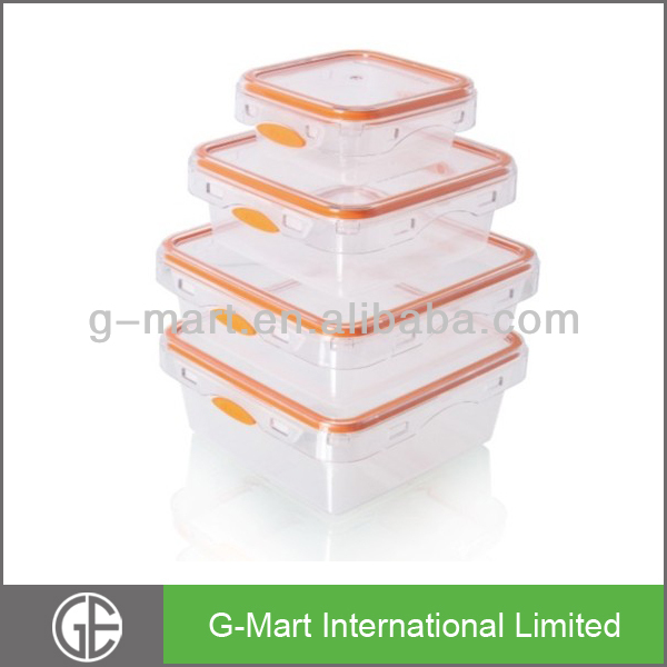 Storage Containers - 4 Pack Set, 100% Food Grade Clear Plastic Storage Containers w/ Silicone Lids