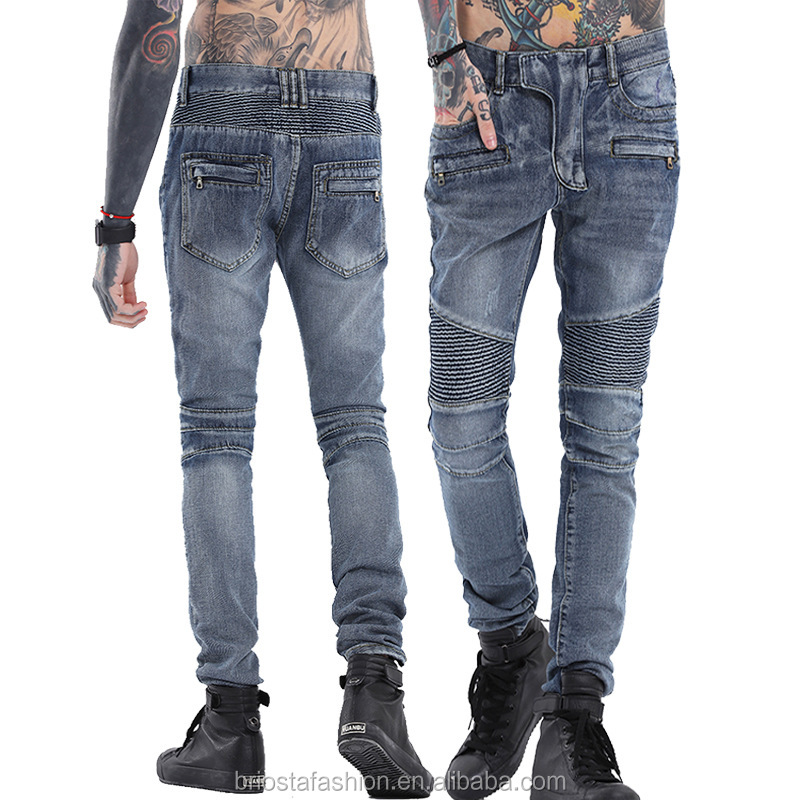 Wholesale Skinny Distressed Destroyed Biker Denim Moto Pants For Man