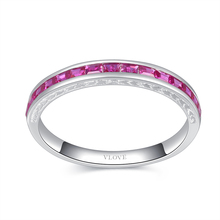 VLOVE online shop china 925 sterling silver jewelry rose quartz baguette ring