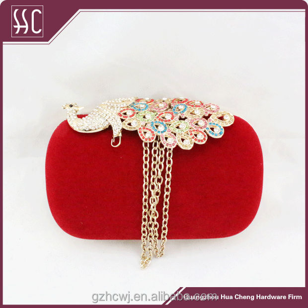 peafowl shape crystal stone evening bags and clutches