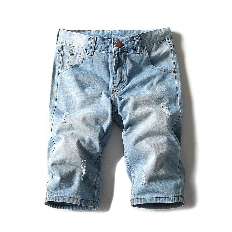 Bansca 2018 Summer Thin Section Denim Shorts Men's Jeans Fashion Casual Men's Shorts Trendy Mens Light Jeans Shorts Men 42