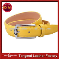 New Arrival Fashion Womans Genuine Leather Belt 2014 With Yellow Buckle Luxury Brand Designer Belts Custom Length