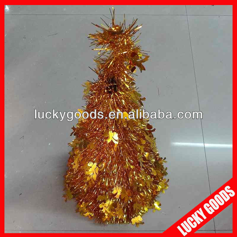 quality gold decorative tinsel christmas cone tree with star