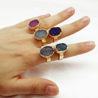 NEWEST!!BEAUTIFUL jewel tone gold plated druzy rings, adjustable Bohemian gypsy chic quartz crystal ring WT-R065