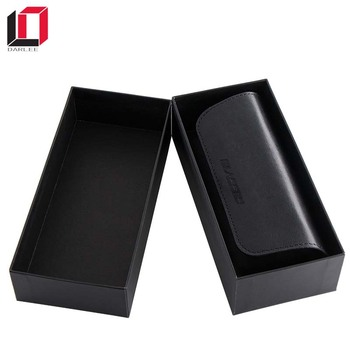 Custom logo printed matte black leather glasses storage box