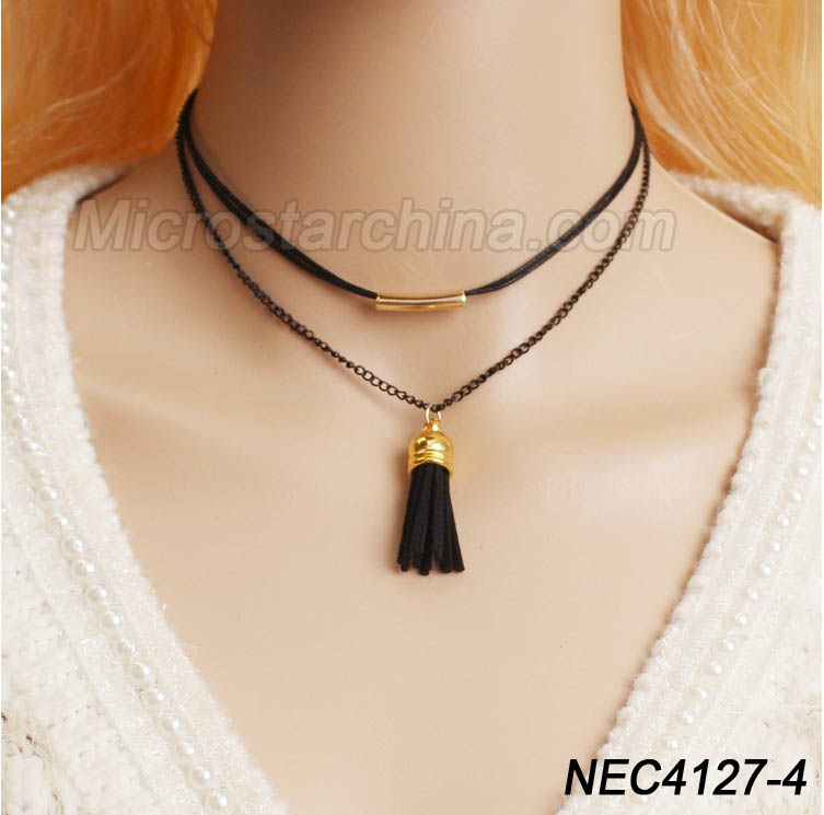 2016 Fashion Woman Hot Sexy Black Fashion simple Trend Western Style Multilayer Tassel Choker Necklace For Lady