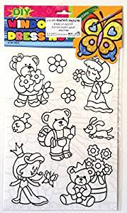 Princess and Teddy Bears DIY Coloring Stained Stickers For Kids Art and Crafts For Kids Window Clings Family Activities Fun Crafts For Kids Art Projects Removable Windows Stained Glass Decals