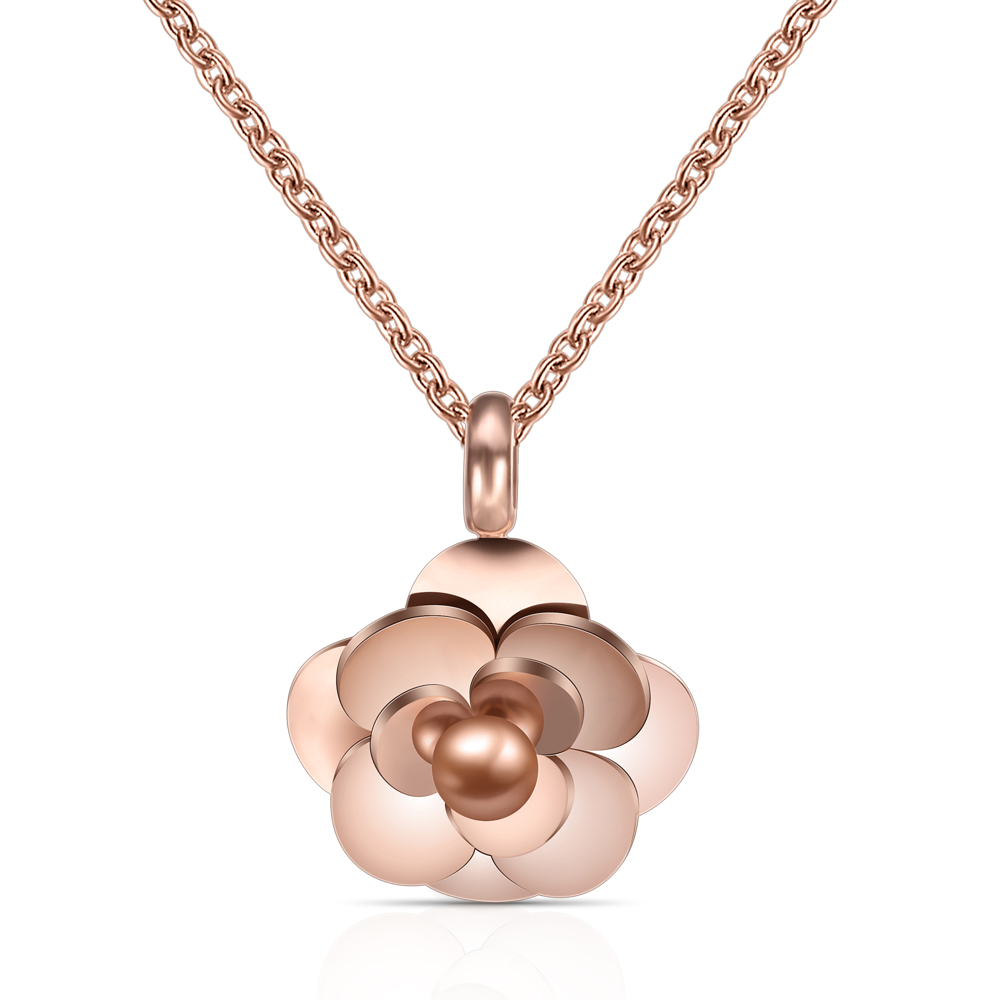 18K Rose Gold Plated Chain 20*20mm Rose Flower Pendant Necklace for women Valentine's Day
