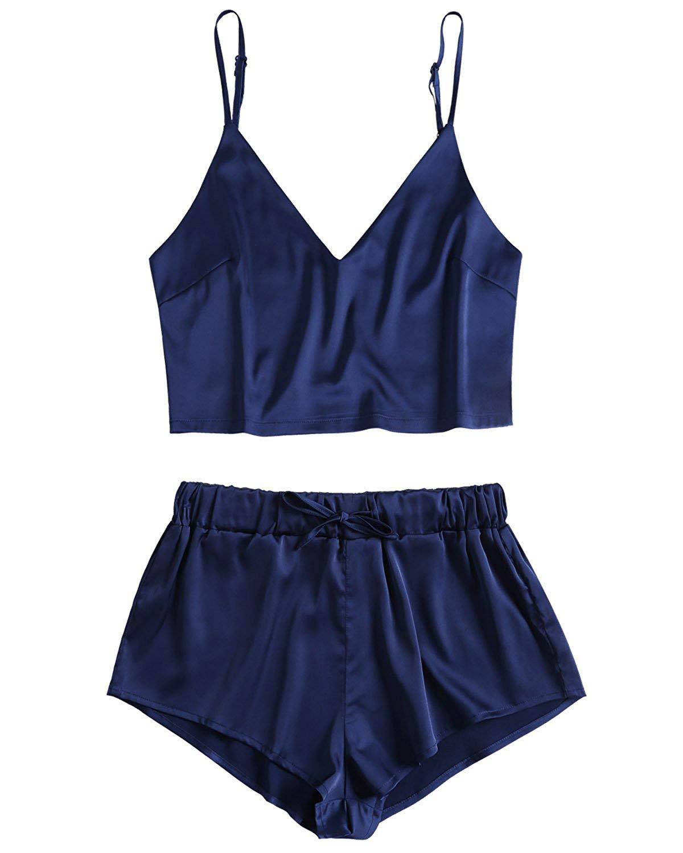 51a6262d3dd Get Quotations · ZAFUL Women Satin Pajama Shorts Set Cami Top and Shorts  Pajama Set Sexy Nightwear