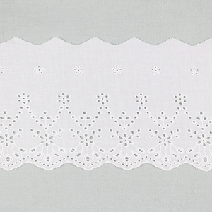 Cotton Embroidered Lace Trim For Spring Girl's Dress With Scalloped Edged