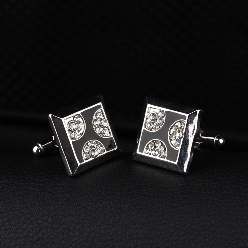 Wholesale Fashionable Square Set Drill Cuff Links
