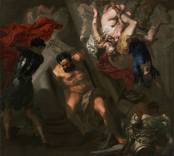 Canvas Art Prints Stretched Framed Giclee Famous Oil Painting Unknown Maker <font><b>Italian</b></font> Probably Genoese School Death Of Samson