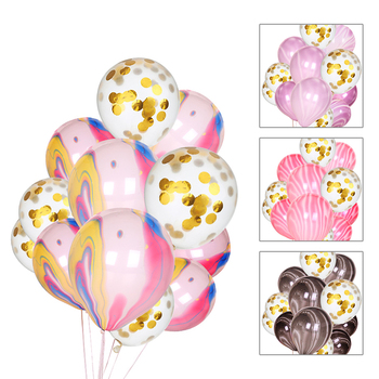 25pcs Clear Cloudy Pink Gold Confetti Balloon Wedding Decoration Happy Birthday Balloons Party Supplies Kids