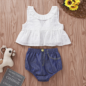 Hot selling summer girls boutique clothing set 2pcs lovely cotton costume for baby clothes newborn