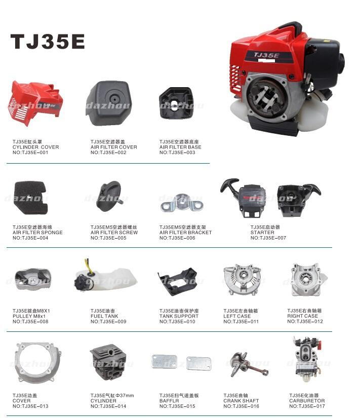 35.4cc Cg331-ka 2-stroke Air-cooled Gasoline Tj35e Brush Cutter ...