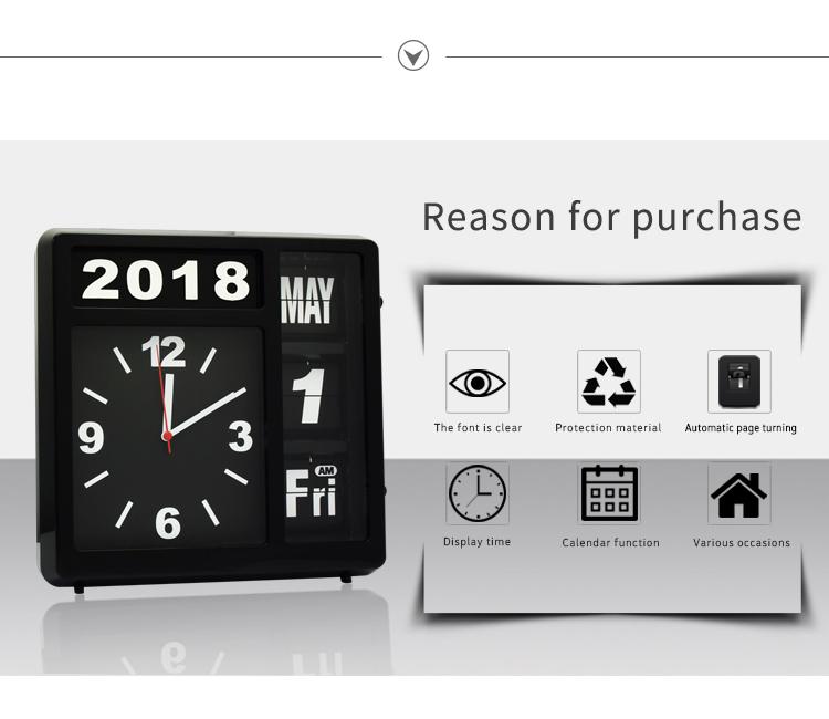 Automatic Flip Clock Pointer Calendar Pvc Simple Quartz Alarm Clock Digital  Display Wall Clock - Buy Automatic Flip Clock,Wall Clock,Oriental Wall