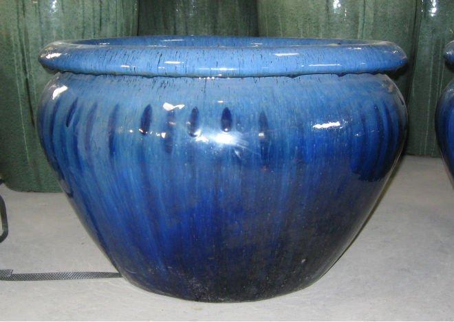 Pot De Fleur Bleu Ceramique Idee D Image De Fleur