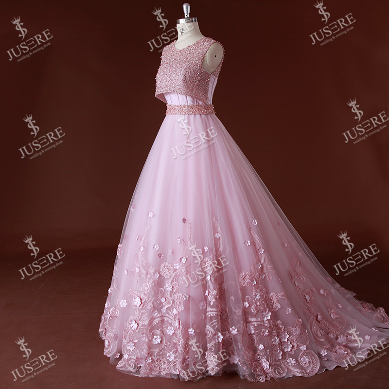 Stylish Sleeveless Flowers Lace Appliqued Beaded Low-cut Back Ball ...