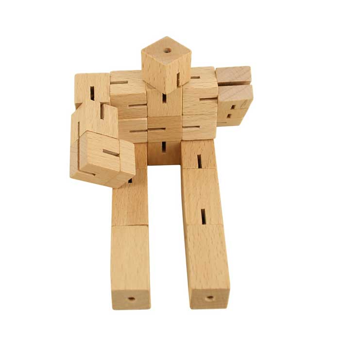 Wooden Robot Cube Man Educational Toys For Kids Intelligent Puzzle