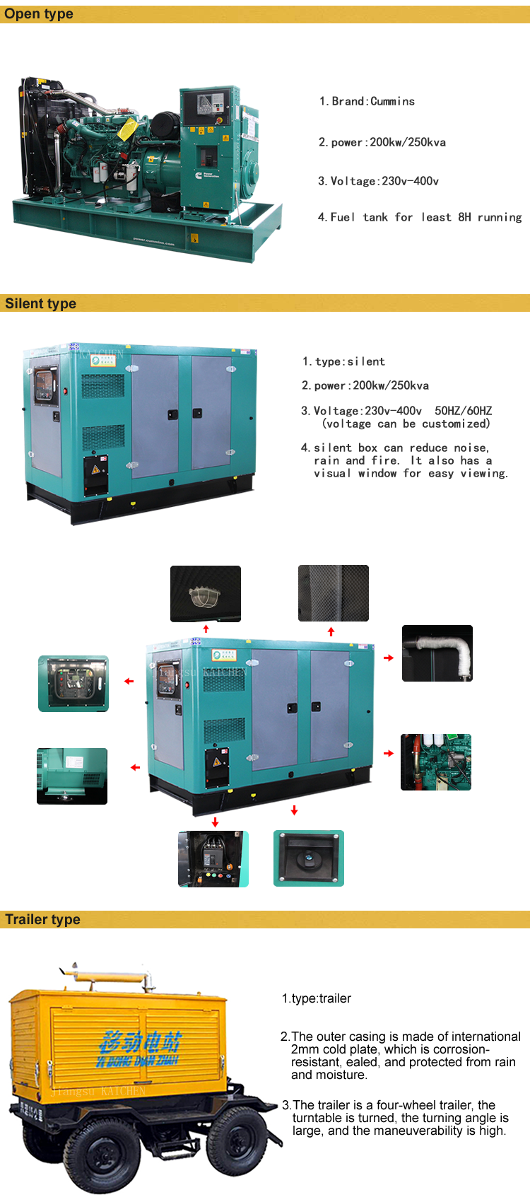 Silent or open 200KW diesel generator with original imported engine / China generator