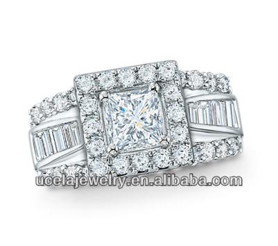 Frame Princess Cut Diamond Engagement Ring Western 10k White Gold ...