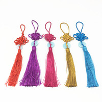 Chinese traditional knot with tassel jade for luck