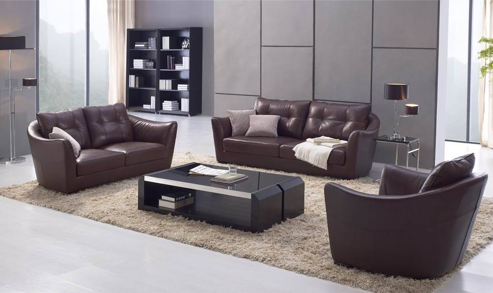 Italy latest high end grey reclining leather sofa double for Sofa set designs for hall