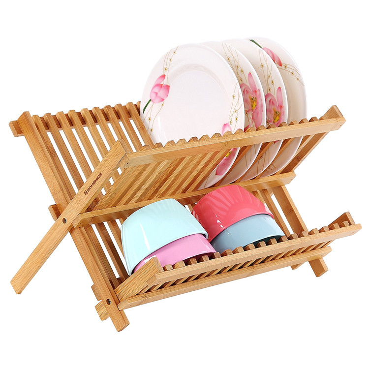 High Quality Bamboo 2 Layer Collapsible Dish Drainer Rack 5