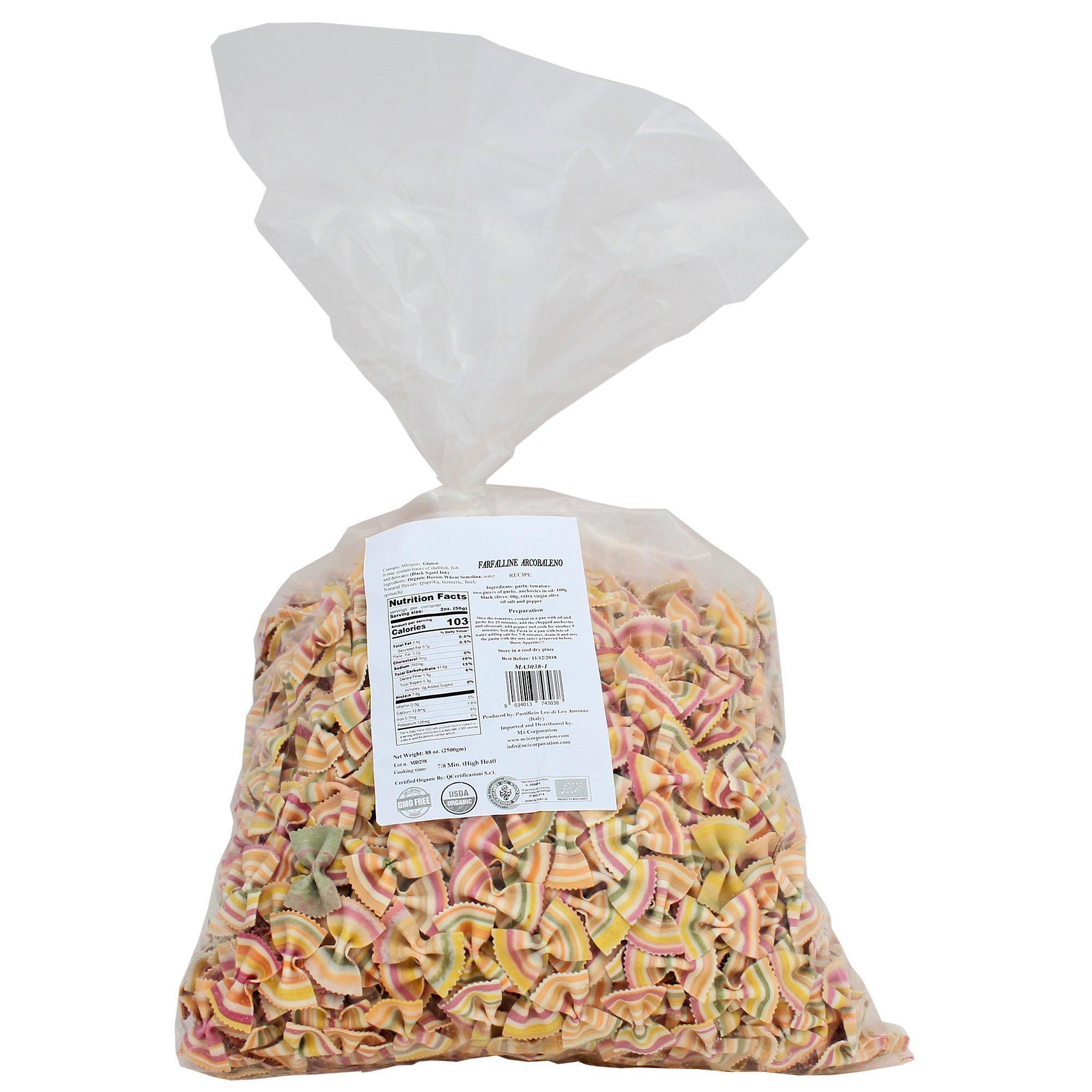Italian Pasta Fantasia Organic Rainbow Bulk Bowtie Colored Pasta, 2.5 Kg Bag
