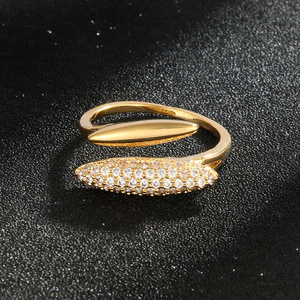 Fashion Style Rhinestone Geometry Opening Ellipse Ring Romantic Engagement Wedding Ring For Women Jewelry Accessories Gifts