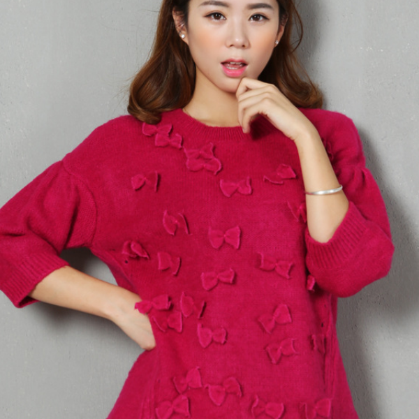 MS50468W Women sweet seven sleeve pull over bowknot design sweater