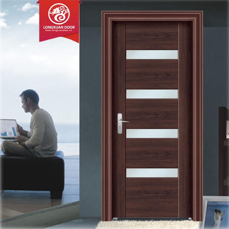 Puertas de madera con vidrio madera hoja recta en bao - Puertas de madera con cristal ...