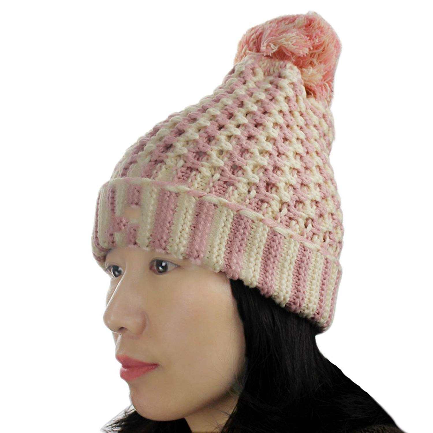 7f9a10c5665 Get Quotations · Women s Winter Stripes Knitted Pom Pom Skiing Slouchy Baggy  Skull Beanie Hat Cap