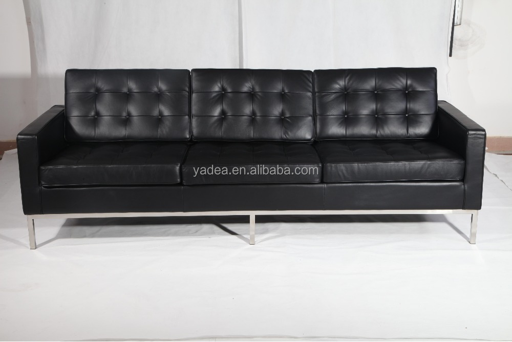 Florence knoll style 3 seat sofa black leather replica
