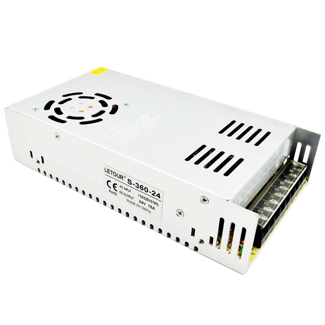 LETOUR 24V Power Supply 15A 360W AC 96V-240V Converter DC 24Volt 360Watt Adapter LED Power Supply for LED Lighting,LED Strip,CCTV