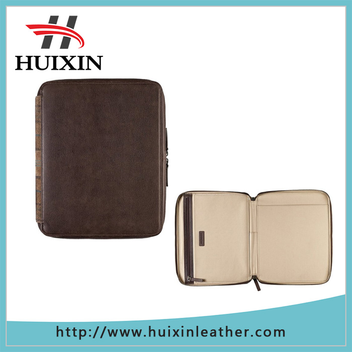 Classical genuine leather zip folio for iPad sleeve pad case holder for ipad