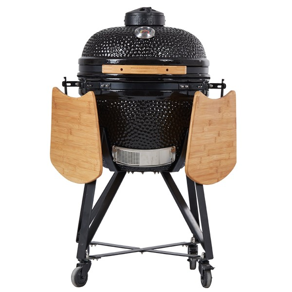 Factory Directly sale Japanese Kamado ceramic BBQ Grill with Bamboo side tables