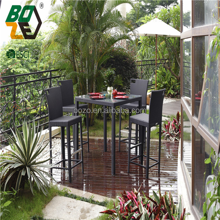 Hot sale cheap aluminum rattan wicker table bar sets rattan bar furniture