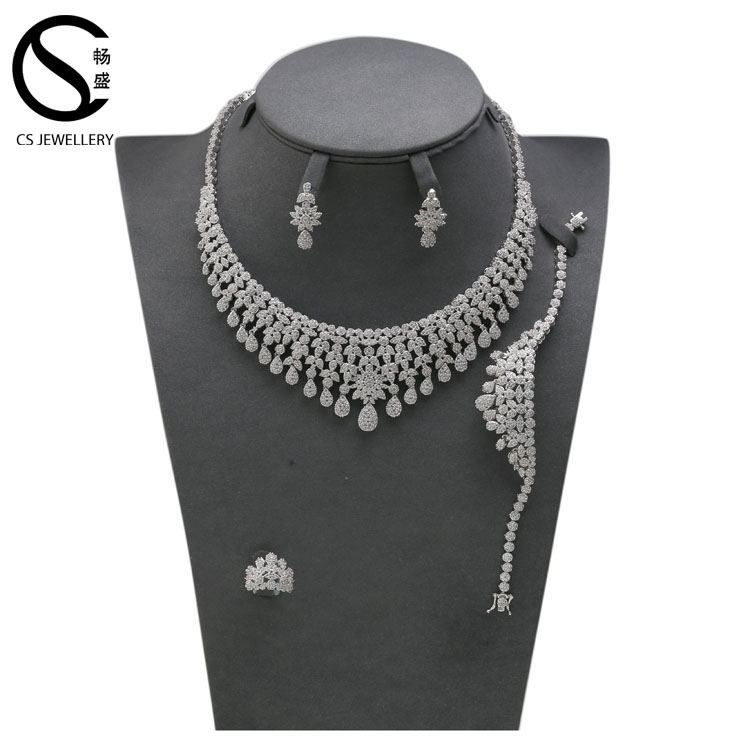 S16554 Costume vintage leaf diamond necklace earrings high-grade four-piece big white plated jewelry sets