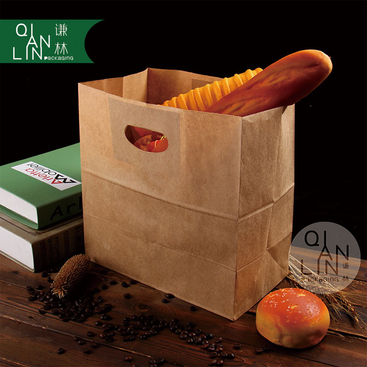 Stock Die Cut Patch Handle Brown Kraft Flat Paper Bag for <strong>food</strong>