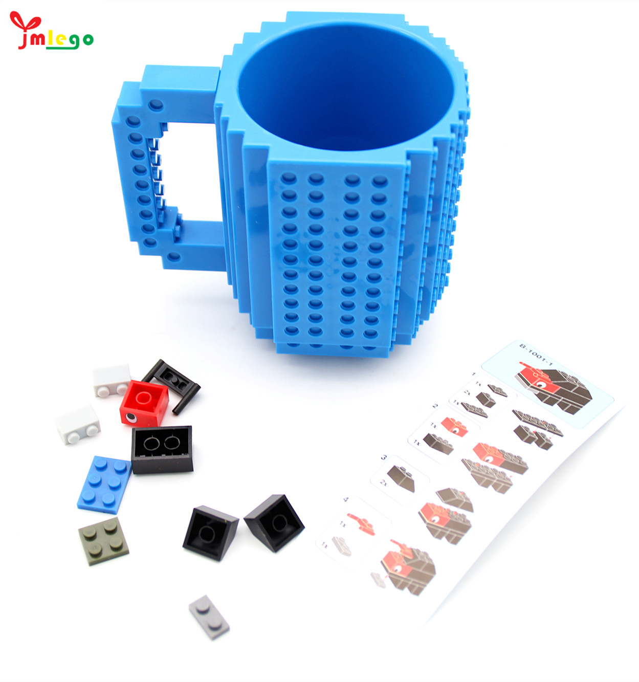 350Ml Build -On Bata Mug Tipe Blok Bangunan Beku Coffee Cup Diy Blok Puzzle Plastik Perjalanan Kopi Mug
