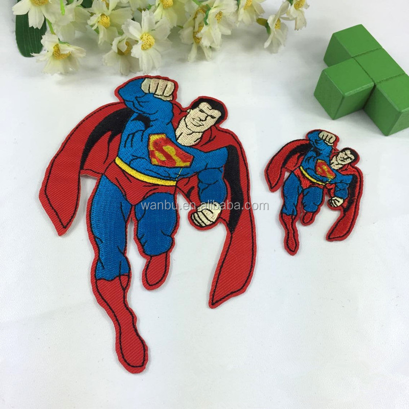 Superman Embroidery Patch Iron on Applique Clothes Shoes Bags Decoration Custom Patch Apparel DIY Patches