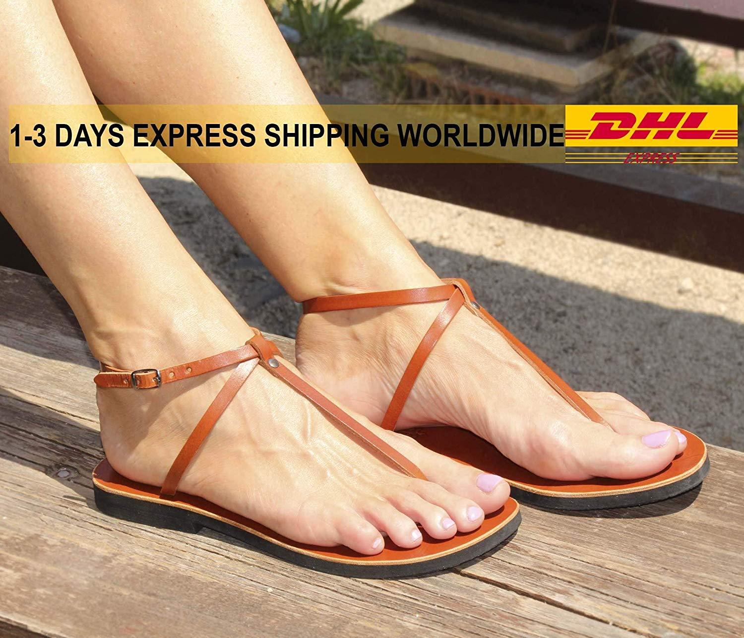 Expedited Shipping Leather Thong Sandals, Barefoot Ankle Strap Flats, Unisex Delicate Sandals, Slingback Sandals - SIN