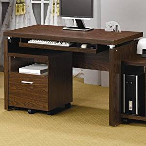Modern Computer Desk with Keyboard Tray Brown Finish