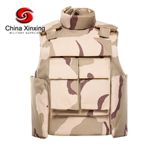 Three color desert camouflage full protection bulletproof vest with neck guard NIJ IIIA PE or aramid plate carrier for NIJ III I