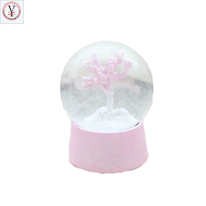 Custom Resin snow globe souvenir cherry blossom flower water Globe